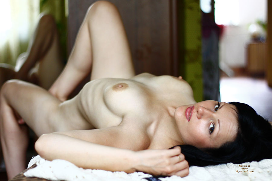 Nude Woman Lying On Her Back - Dark Hair, Erect Nipples, Naked Girl , Arched Back, Deep Dark Eyes, Reclining Nude, Eye Candy, Sexy Woman, Ribs And Tits, Blowjob Lips, Inviting Eyes