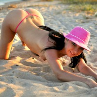 Topless Doggy In The Sand - Black Hair, Long Hair, Topless, Nude Wife