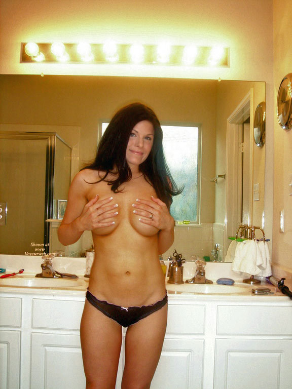 Pic #1 - Sexy MILF - Big Tits, Black Hair, Dark Hair, Large Breasts, Long Hair, Milf, Topless , Full Firm Breasts, Black Thong With Pink Trim And Bow, Topless Wife, Topless Milf, Hands On Big Tits, Wife In Bathroom