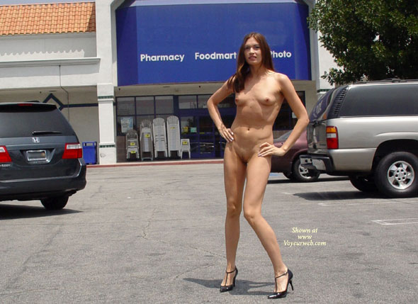 Pic #1 - Exposed Public Shopping , Exposed Public Shopping, Nude Shopping, Nude Car Park, Skinny Girl, Long Legs And Heels, Small Tits In Public