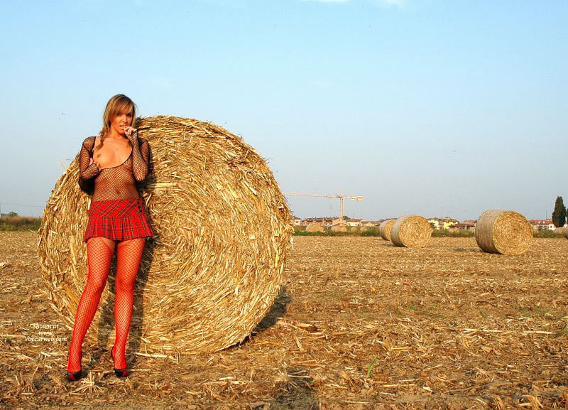 Pic #1 - Farmer's Hot Daughter - Blonde Hair, Long Legs , Making Hay While The Sunshines, Dressed Sexy, Firm Breasts, Outstanding In Her Field, Red Fishnets, Fit Body, Girlfriend Seethrough, Standing In Front Of Round Bale Of Hay