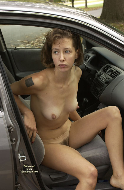 Pic #1 - Naked In The Car - Big Nipples, Brown Hair, Exhibitionist, Hairy Bush, Hard Nipple, Tattoo , Naked In The Car, Exhibitionist, Hard Nipples, Hairy Bush, Brown Hair,  Tattoo, Big Nipples