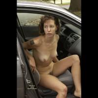 Naked In The Car - Big Nipples, Brown Hair, Exhibitionist, Hairy Bush, Hard Nipple, Tattoo