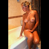 Naked Cute Girl Sitting On Tub - Blonde Hair, Firm Tits, Tan Lines