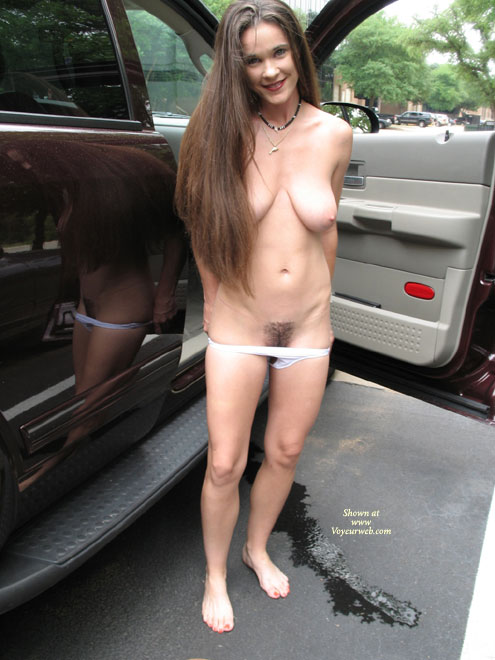 Pic #1 - Busty - Brunette Hair, Busty, Hairy Bush , Busty, Hairy Bush, Brunette, Exposed Outdoors, Auto Exhibitionist, Nude Parking Lot Strip