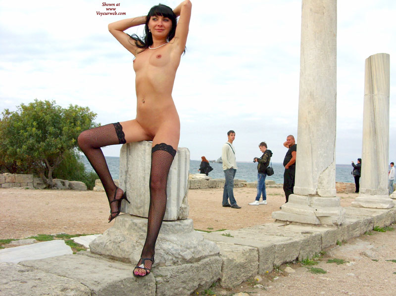 Thigh Highs Slim Body Black Fish Stockings Nude Girl In Public