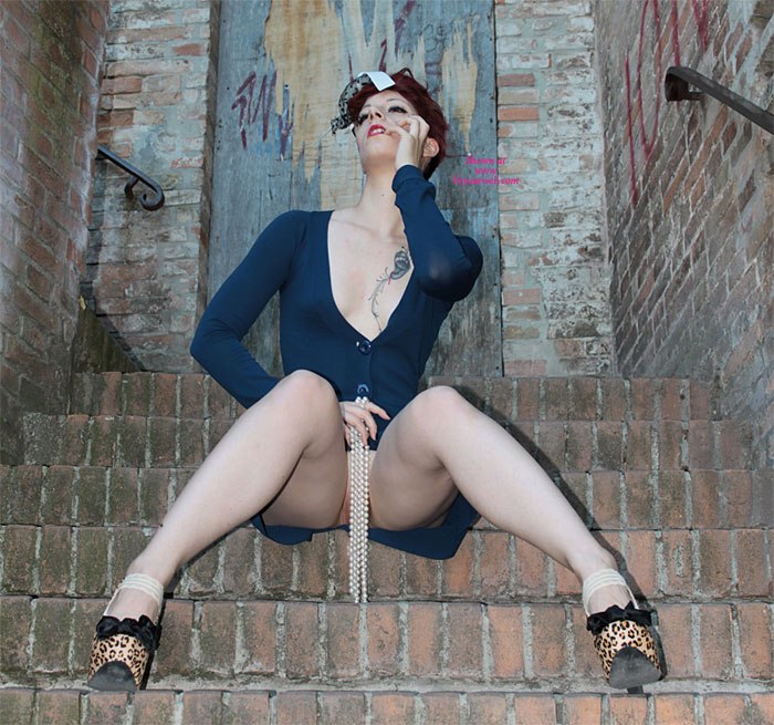 Sitting Pantiless On Stairs - Long Legs , Posed Upskirt, Tease, White Pearls, Pearl Covering, Blue Leotard, Pantieless Friend, White Beads, Leopard Heels