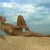 Nude Girl With Sand On Skin - Blonde Hair, Shaved Pussy, Small Breasts, Small Tits, Naked Girl, Nude Amateur