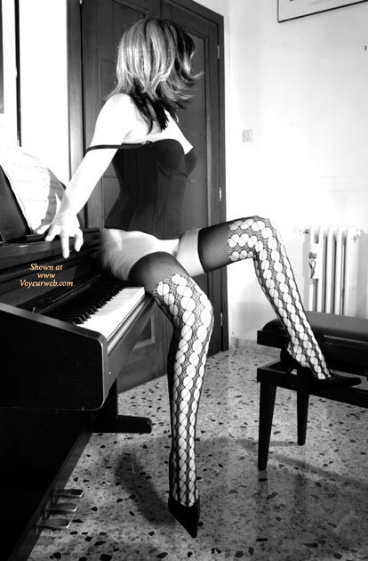 Pic #1 - Bottomless In Corset And Thigh Highs - Bottomless, Heels, Long Legs, Stockings, Sexy Lingerie , B&w Panty-less Stockings With High Heels, Black And White, Seated On Piano Keyboard, Black Corset, Sitting Naked On My Piano, Open Weave Stockings, Patterned Stockings, Black Camisole, Piano, Black Thigh High Stockings