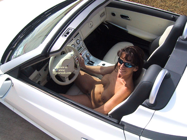 Pic #1 - Happy Drive - Sunglasses , Happy Drive, Nude View From Above, Nude In Convertible, Sunglasses, Totally Naked, Driving