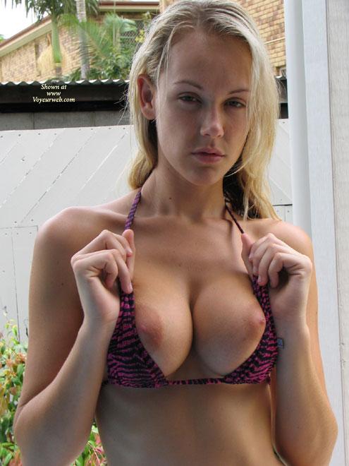 Pic #1 - Showing Tits - Big Tits, Large Aerolas, Showing Tits , Showing Tits, Bikini Top, Big Boobs, Purple Bra, Sleepy Face, Bursting Out, Round Juicers, Large Aerolas