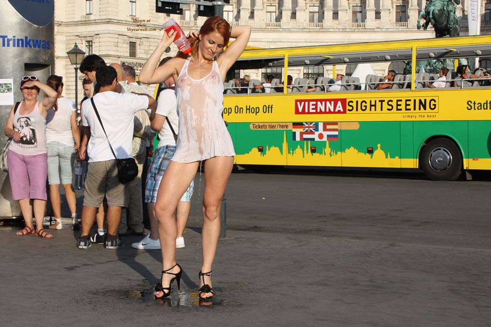 Public Nudity In Vienna - Exhibitionist, Flashing , Vienna, Wet Seethru, Black Spiked Heels, Partially Naked, Wet White Top, Flashing In Public, Wet Shirt Dress, Black Toeless Sandles, White Tank Top, Summer In The City, Nude Me On Heels, Exhibitionist In Public, Sheer Wet Dress