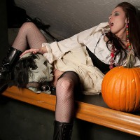 Halloween Pussy - Black Hair, Dark Hair, Landing Strip, Long Hair , Sexy Halloween, Pantieless Girlfriend, Eat Me Zombie Man, Pussy Eating Mask, Eat Her Pumpkin, Black Fishnets, Black Boots, White Dress