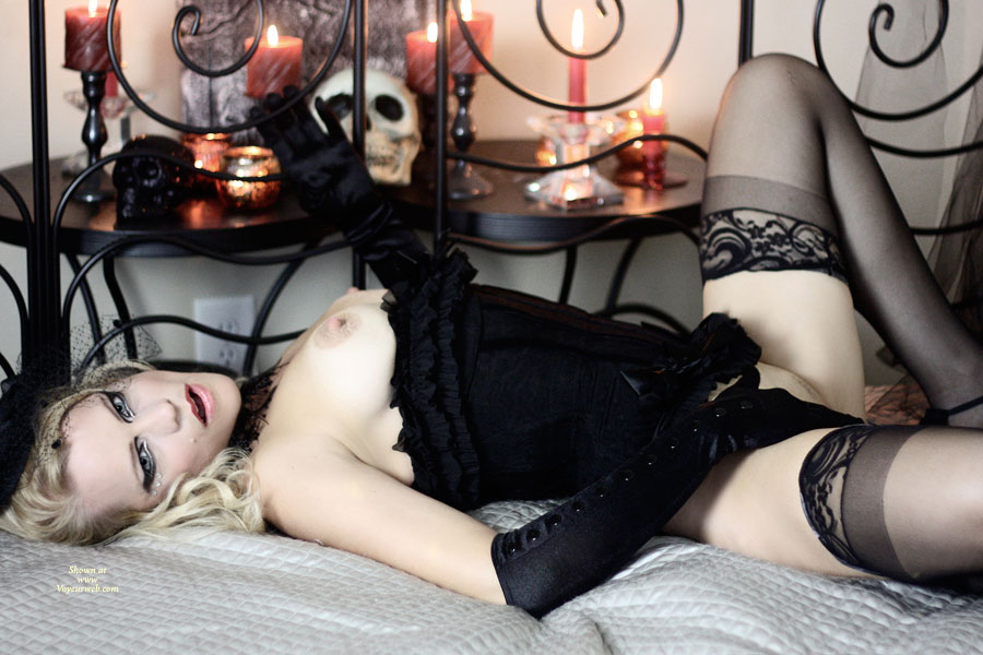 Pic #1 - Dressed To Kill - Erect Nipples, Stockings, Naked Girl , Pale Skin, Candle Light And Skulls, Black Corset, Corset Pulled Down, Panties Pulled Up, Corseted Beauty, Black Gloves