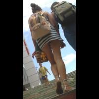 Street Upskirt - Brunette Hair, Long Legs