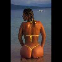 Mycol - Yellow Tong - At The Beach, Rear View, Round Ass