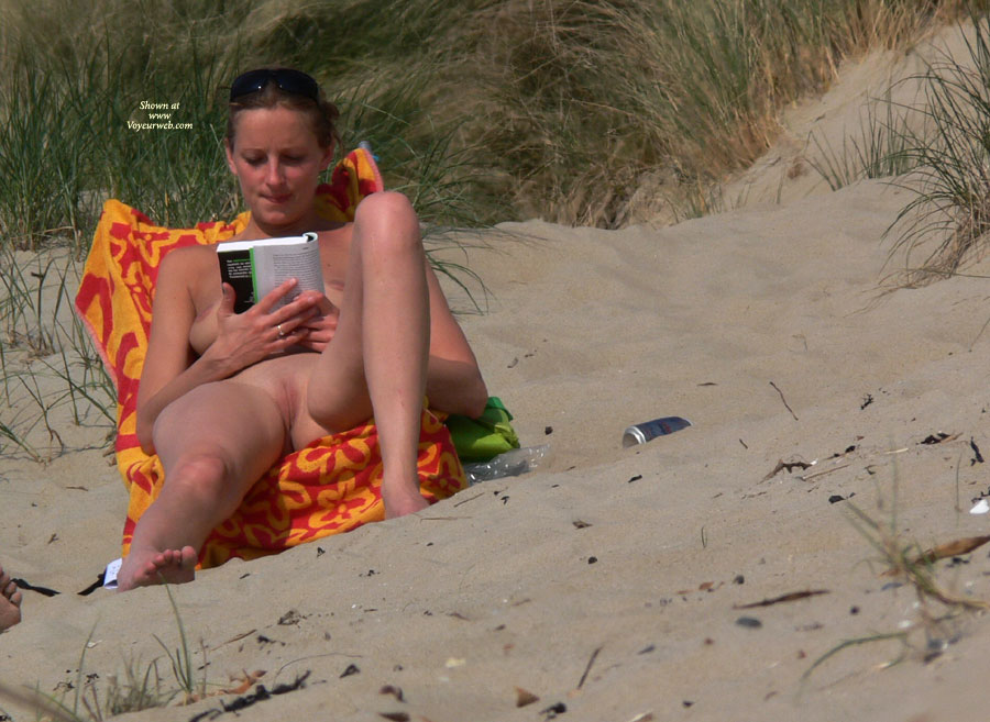 girl reading beach Naked on