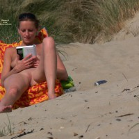 Young Girl Reading - Nude Beach, Nude In Public, Bald Pussy, Beach Pussy, Beach Voyeur, Naked Girl