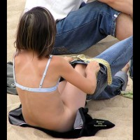 Pantyless Jeans - Beach Voyeur , Bottomless On Beach, Getting Dressed On The Beach, White Bra, No Panties, Blue Jeans, Small Size Bra And No Panties, Doesn't Wear Panties