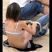 Pantyless Jeans - Beach Voyeur