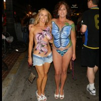 Two Painted Girls At Fantasy Fest - Blonde Hair, Brunette Hair, Topless