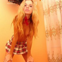 Skinny Blonde - Hanging Tits, Skirt, Topless