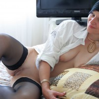 Mischievous Smile - Black Hair, Spread Legs, Stockings, Bald Pussy , Open White Blouse, Sweet Honey Pot Ready To Taste, Lying Sideways Legs Spread, Parted Legs, White Shirt
