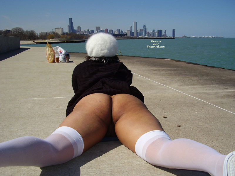 Pic #1 - Bottomlesss Lying On Pier - Bottomless, Nude Outdoors, Spread Legs, Stockings, Hot Wife, Naked Girl, Nude Amateur , Chicago Pantyless, Pantyless, Public Nudity, Lying Flat Belly Down, White Thigh Highs, Showing Us Her Bum And Thighs, White Stockings, Black Coat, Ass Shot Outside, Lying On A Dock, Looking North, Lying On Front, Public