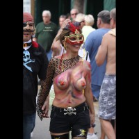 Topless In Public Wearing Body Paint - Brunette Hair, Large Breasts, Topless