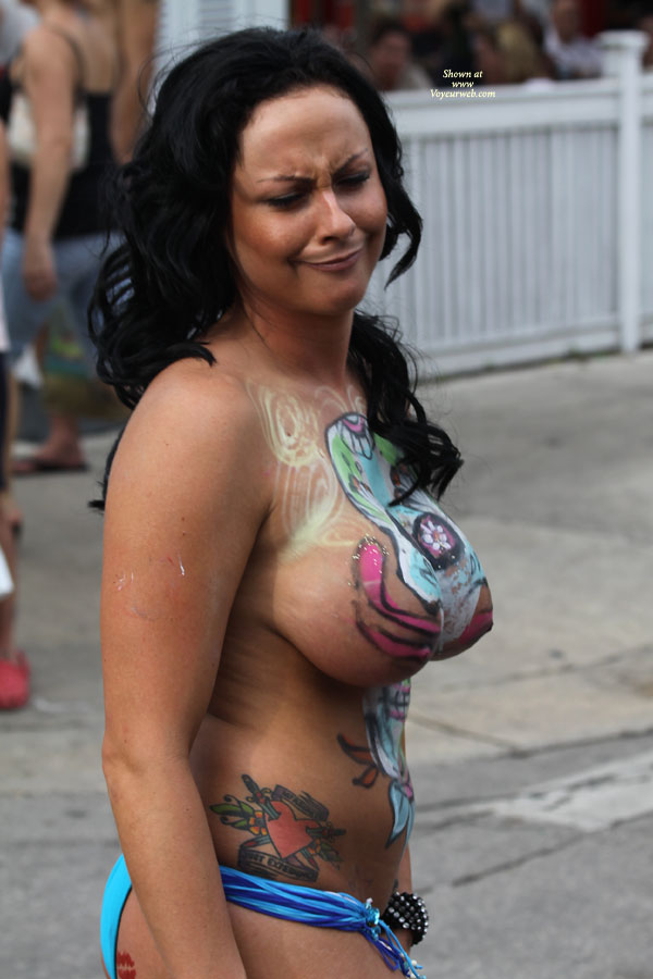 Pic #1 - Huge Painted Tits At Fantasy Fest - Black Hair, Huge Tits, Long Hair, Topless , Frowning Face, Festival Voyeur, Air Brushed Skin, Topless With Body Paint, Long Black Hair