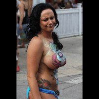 Huge Painted Tits At Fantasy Fest - Black Hair, Huge Tits, Long Hair, Topless