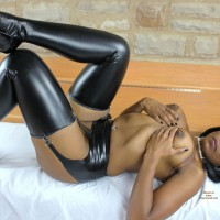 Black Beauty Topless With Leather Stockings - Erect Nipples, Heels, Topless, Naked Girl