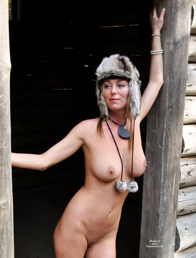 Pic #1 - Naked Wife Outdoor With Fur Hat - Big Tits, Hard Nipple, Milf, Bald Pussy, Naked Girl , Fur Hat, Nude Milf, Log Cabin, Great Body, Standing In Cabin Door