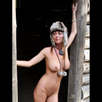 Naked Wife Outdoor With Fur Hat - Big Tits, Hard Nipple, Milf, Bald Pussy, Naked Girl