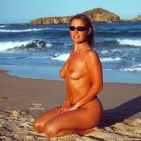 Kneeing On The Beach - Nude Beach, Small Tits, Sunglasses, Topless Girl, Beach Voyeur, Nude Amateur