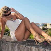 Girl Sitting Pantyless On Wall Outdoor - Heels, Long Legs, Topless