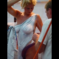Beauty With Big Painted Titties - Big Tits, Blonde Hair, Erect Nipples , Body Paint, Painted Lady Of The Evening, Skin Tight Toga, Toga Party Tits, Festival Voyeur, Hand On Head, Bleached Blonde, Sexy Tits, Standing Airbrush