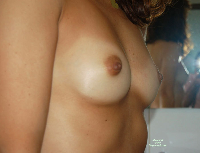 Pic #1 - Wife's Tits , Sexy Freckels, Tiny Tits, Close-up Of Breasts, Itty Bitty Titties, Brown Areolas And Nips