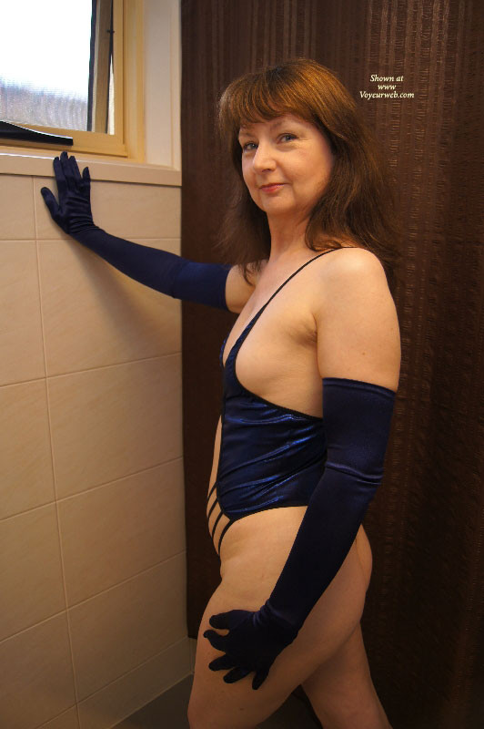 Pic #1 - AussieLouise - Blue Outfit #1 , Thanks For The Nice Comments On My Two Submissions Last Month. Change Of Colour To Blue This Time. They Were Taken At A Motel In Geelong - These Ones Were All In The Bathroom.