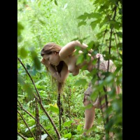 Topless Girl Bend Over In Nature - Brunette Hair, Large Breasts, Long Hair, Topless