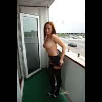 Black Stockings - Big Tits, Heels, Redhead, Stockings, Topless Outdoors