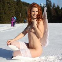 Naked Woman In The Snow - Exhibitionist, Flashing, Nude In Public, Red Hair, Small Breasts, Naked Girl , Nude Girl On Heels, Wavy Red Hair, White Stockings And Boots, Sexy Redhead, Public Nudity, Small, Firm Breasts, Cold Erect Nipples, Pale Skinned Redhead, Snow Angle