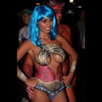 Nude Girl With Bodypaint - Large Breasts, Naked Girl , Wonder Woman, My Kind Of Super Hero, Festival Voyeur, Wonderful Woman, Great Paint Job, Large Tits, Blue Wig, Boob Licious