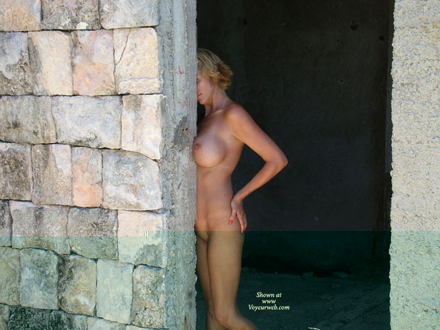 Pic #1 - Nude Outdoors Near Rock Wall - Big Tits , Nude Outdoors Near Rock Wall, Boob Job, Big Tits, Blonde Naked, Hiding Face, Nude At Construction