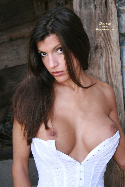 Pic #1 - Open Corset - Big Tits, Brown Eyes, Brown Hair, Brunette Hair, Dark Hair, Long Hair, Topless, Looking At The Camera , Peekaboo Tits, Topless Brunette, Long Dark Brown Hair, Deep Big Brown Eyes, Tits Busting Out Of Corset, Unbuttoned Corset, Busting Out