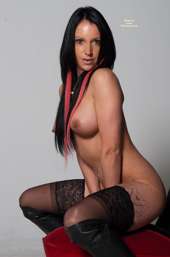Pic #1 - Squatting Topless And Bottomless Profile - Black Hair, Long Hair, Perfect Tits, Stockings, Topless , Big Erect Nipples, Long Black Hair, Nude Friend On Heels, Medium Breasts, Navel Ring, High Boots, Cold Nipples
