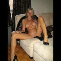Nude Girlfriend With High Heels On Couch - Blonde Hair, Heels, Long Hair, Long Legs, Spread Legs, Trimmed Pussy, Naked Girl, Sexy Legs , Sitting On Couch, Legs Open, Sexy Breast, Hands On Knees, Natural Blonde