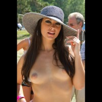 Topless Hottie - Brown Hair, Brunette Hair, Dark Hair, Long Hair, Small Tits, Tan Lines, Topless, Sexy Face , Nice Hat, Long Brunette Hair, Dark Eyes, Festival Voyeur, Dark Brown Hair, Eye Makeup