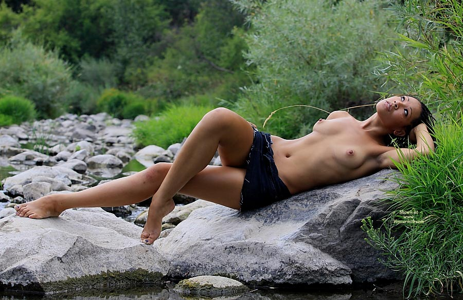 Beauty On The Rocks - Black Hair, Dark Hair, Long Legs, Nude Amateur , Black Wrap Skirt, Relaxing After A Dip, Laying On A Rock
