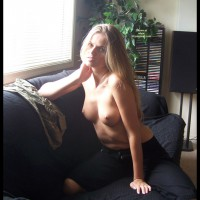 Posing At The Window - Perky Tits, Topless Blonde, Looking At The Camera